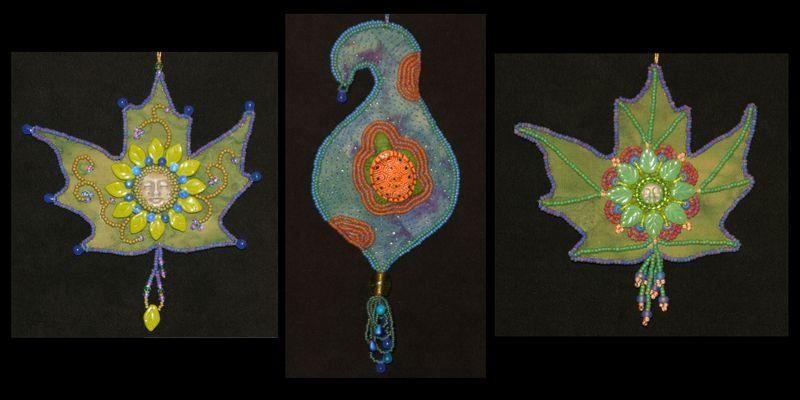 Leaf & turtle ornaments