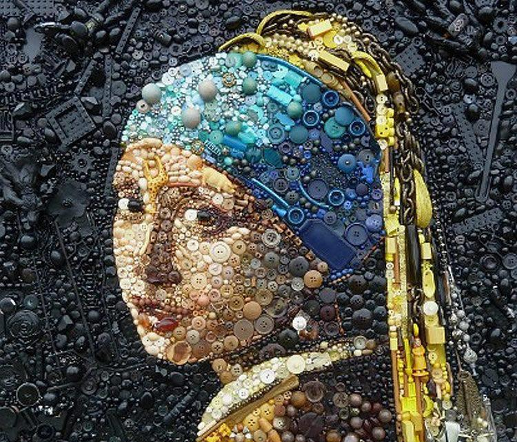 Sondra Julia Ozolins's embellished Girl with a Pearl Earring