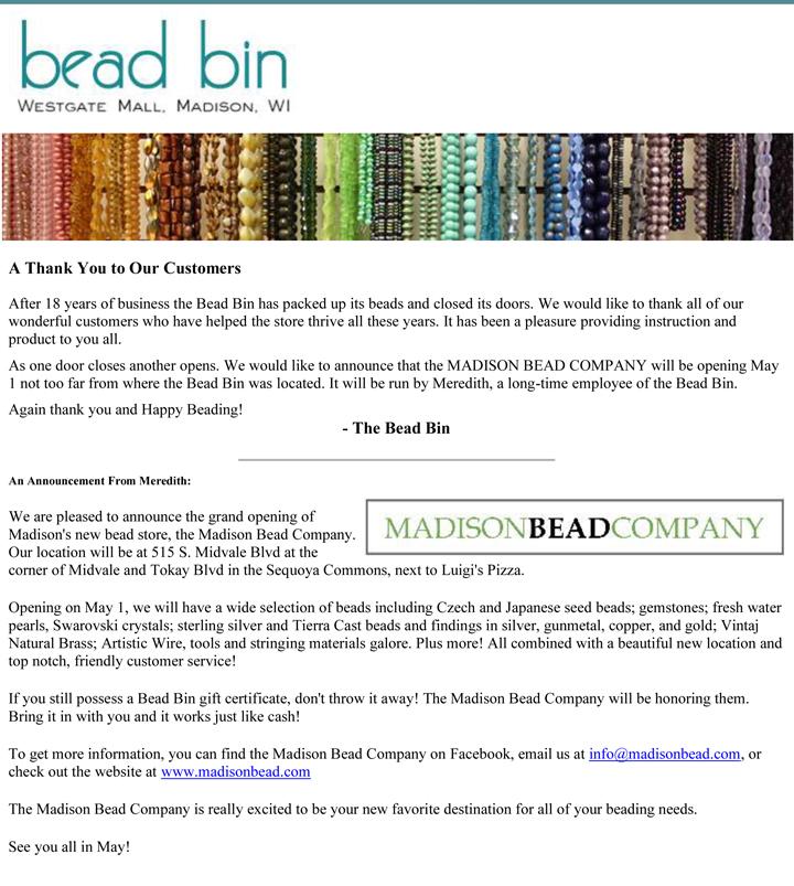 Bead Bin Madison Bead Co announcement 041713