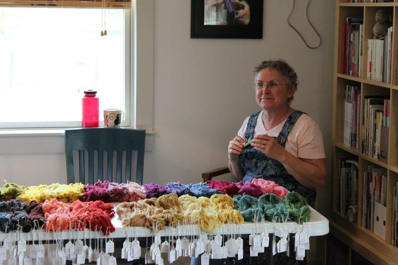 Dagmar with our skeins
