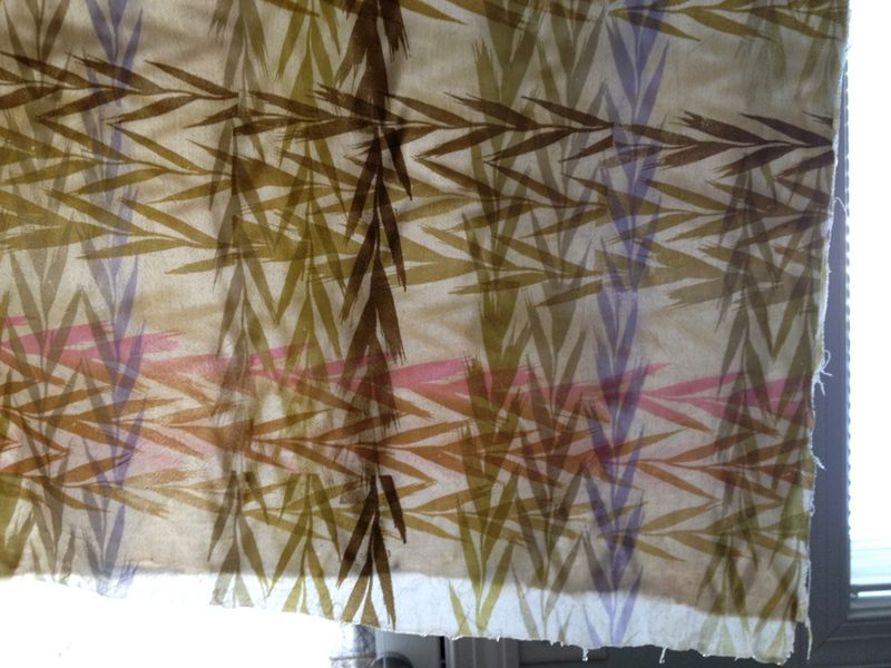Tea dyed wheat grass print fabric 0214