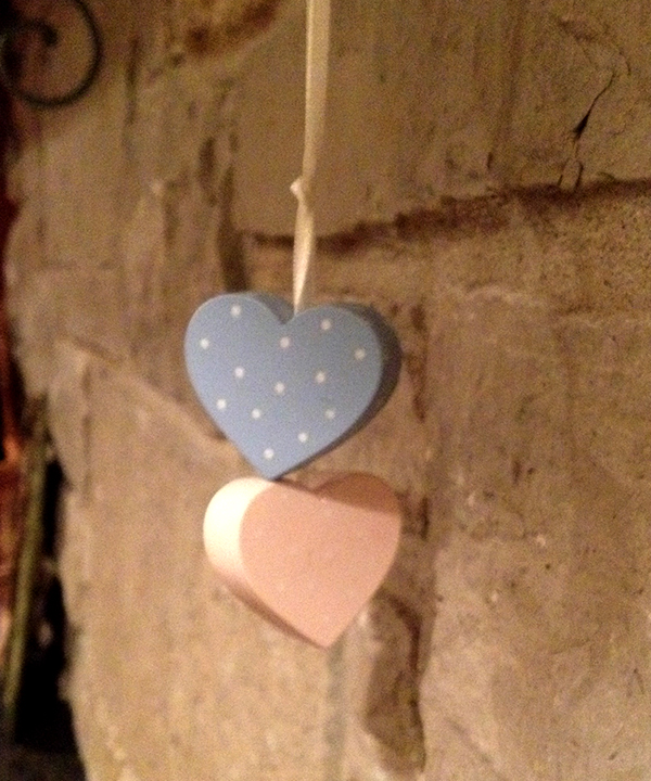 Blue and pink hearts
